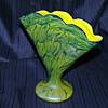 """Welz Iridescent Swirl """"Marbled"""" Fan Vase"""
