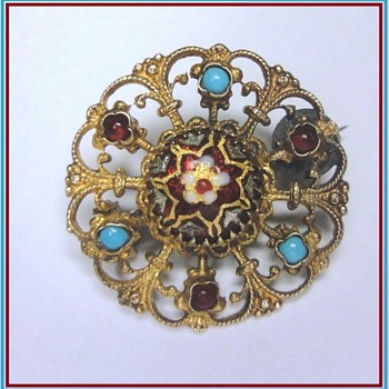 19s Enameled Filigree Vermeil Brooch with little turkoois and garnet  - Fine Jewelry