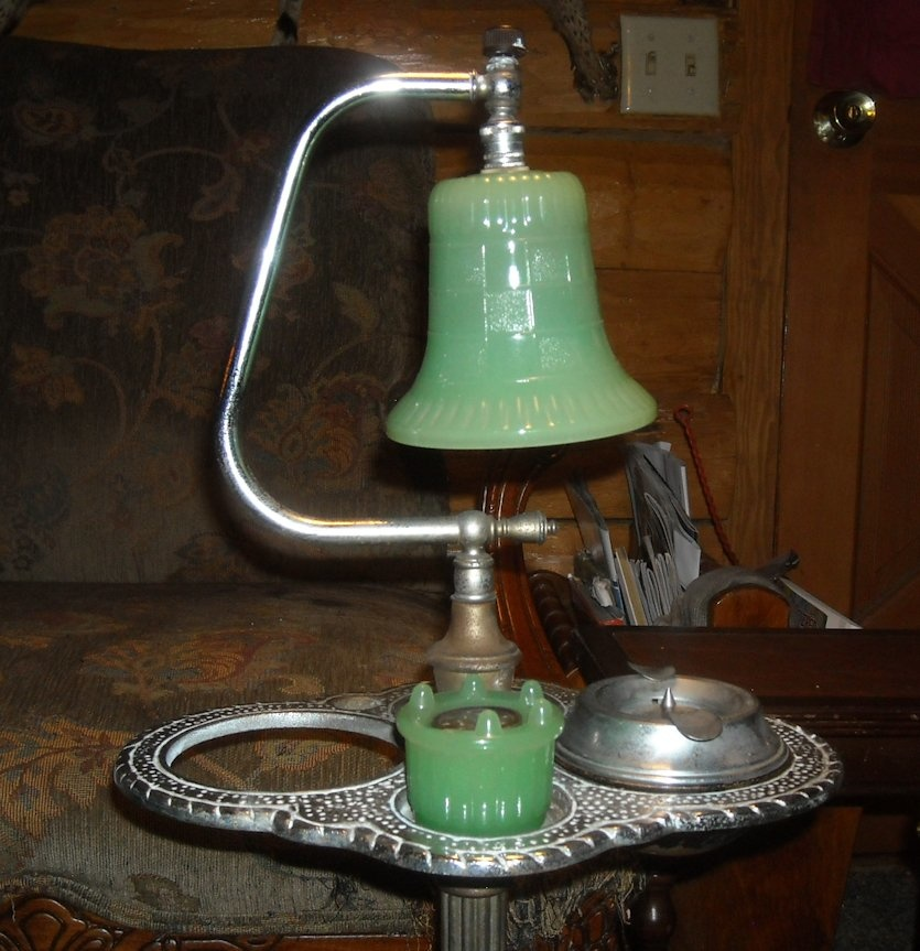 Jadite Smoking Stand with Lamp 1920s/1930s | Collectors Weekly