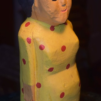 Lady with Bun and Red Polka-dot Yellow Dress - Folk Art