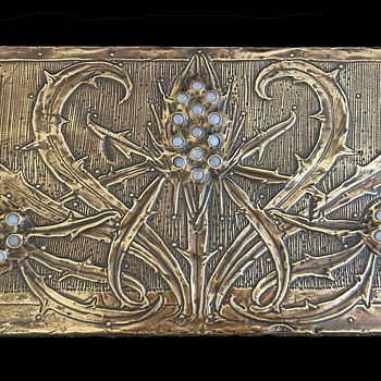 1903 L' Art Nouveau Daguet Brass & Cabochon Decorative Desk Box - Art Nouveau