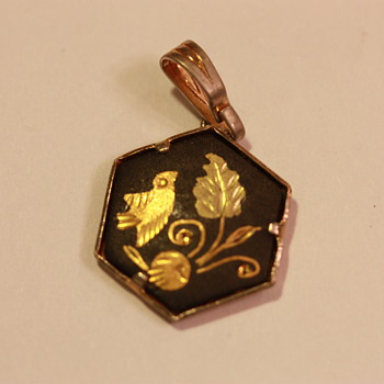 Gold and black enamel pendant - Costume Jewelry