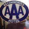 Recommended AAA Hotel...Double Sided Porcelain Sign...Three Colors