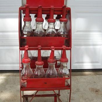 glass oil bottles & rack - Petroliana