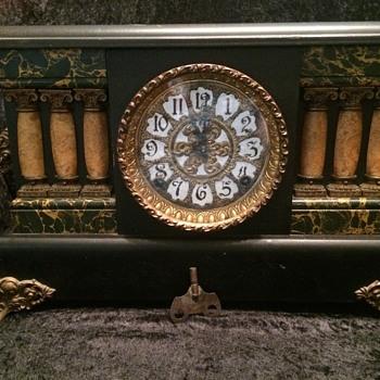 E. Ingraham black enameled wood mantel clock