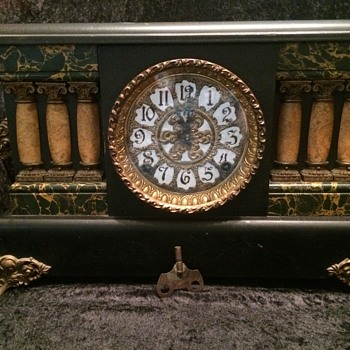 E. Ingraham black enameled wood mantel clock - Clocks