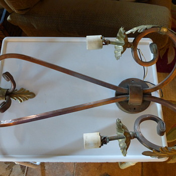Large Vintage Copper and Brass Wall Sconce