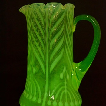 interesting vaseline Glass carafe VaseliMenorah decoration - Glassware