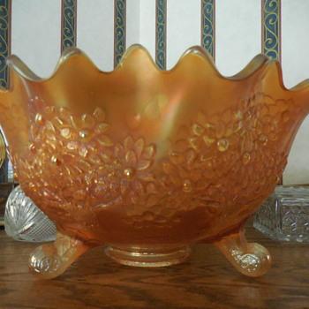 """I Think"" Fenton Orange Tree Carnival Glass - Glassware"