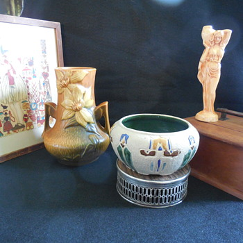 Roseville Pottery Vase and Bowl, and a Metlox Art Pottery Water Carrier Bud Vase   - Pottery