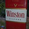 "1950""s (?) Large Winston Cigarette (Pack) Metal Display Sign~27"" ht."