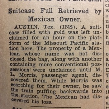 1933 Mexican Forgot Suitcase Full Of Gold - Paper
