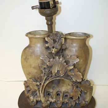Carved Chinese Double Vases, Lotus, Bird / Brush Pots.   Unknown Age.  - Asian