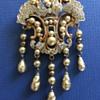 Vintage Deco Drop Pearl Pave Rhinestone Brooch Pin