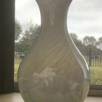 Iridescent cased art glass vase  - Art Glass