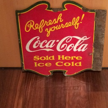 VINTAGE COCA COLA DOUBLE SIDED PORCELAIN SIGN! - Advertising