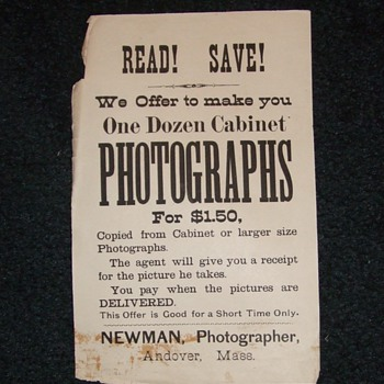 Photographers advertising broadside or handbill c. 1890s