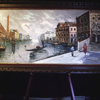 C.Carito, Italian impressionist, Oil on canvas, Venezia, Mid 20 Century - Fine Art
