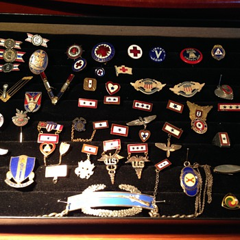 Sweetheart and military pin collection