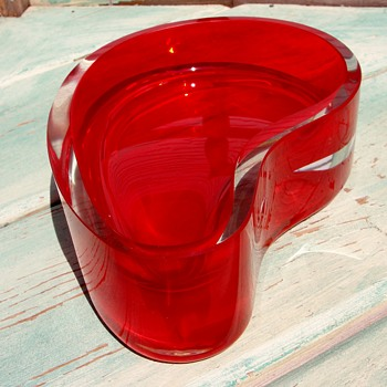 Heavy Clear and Red Glass Kidney Shaped Dish - Art Glass