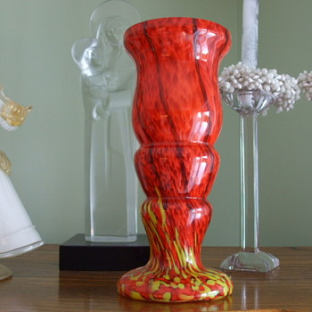 "FIERY MARBLE Classic WELZ Spatter Glass Vase-signed ""Made in Czechoslovakia"" - Art Glass"