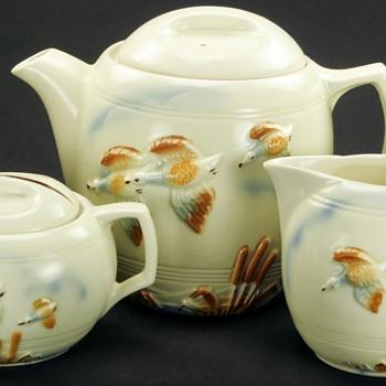 Vintage Art Deco Porcelier China Tea Set FLIGHT  - China and Dinnerware