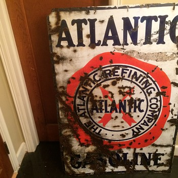1930's Atlantic Gasoline porcelain sign - Petroliana