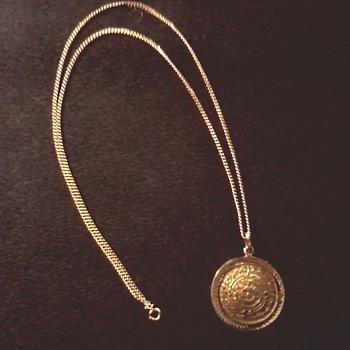 14 K Gold Aztec/Mayan Sun Calendar Pendant with 12K G.F. Chain / Circa 20th Century - Fine Jewelry