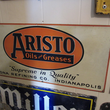 Vintage single sided tin Aristo sign