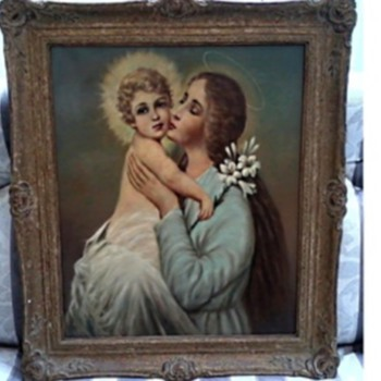 """Round Yon Virgin Mother and Child "" /Merry Christmas Everyone ! / Oil on Canvas/Circa 19th-20th Century - Fine Art"