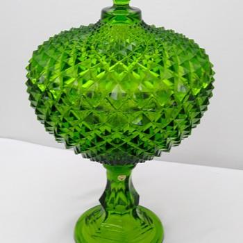 "Westmoreland 14"" Emerald Green Grandfather Sawtooth Diamond Lidded Comport - Art Glass"