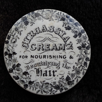 EARLY CIRCASSIAN CREAM POT LID - Advertising