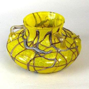 PALLME KONIG HANDLED VASE WITH PRUNTS - Art Glass