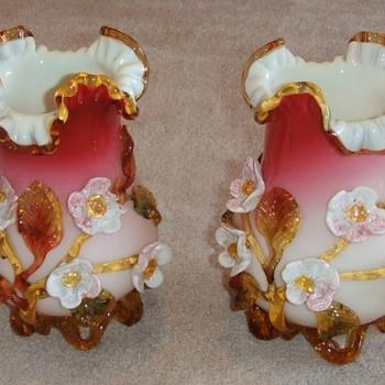 Stevens and Williams applied flower Art Glass Vases - Art Glass