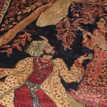 Vintage Rug Featuring Mughal Emperor Jahangir and His Empress Nur Jahan - Rugs and Textiles