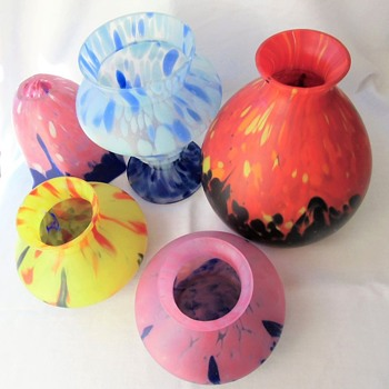 The A. Ruckl Satin Spatter Shimmy Glass Collection - Documented X3 & More - Art Glass