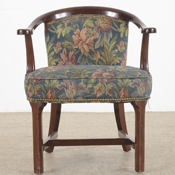 Cherry upholstered barrel chair
