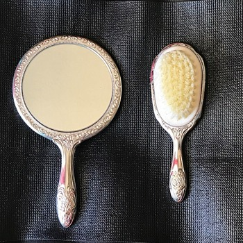 1900 Victorian and Antique Mirror and Hairbrush - Accessories