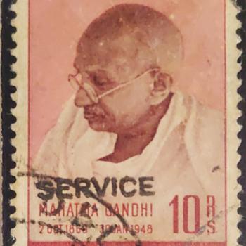GANDHI 10 RS SERVICE - Stamps