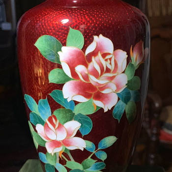 Cloisonne Vase with Roses - Asian