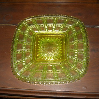 Imperial Glass Vaseline Beaded Block Plate - Glassware