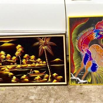Edgar Leetag Black Velvet Painting 1946 & Chico Da Silva Abstract Rooster 1975