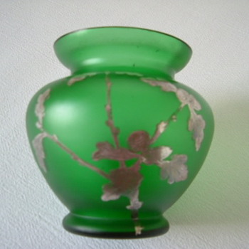 Goldberg Vase with Silver Overlay of Acorns and Oak Leaves - Art Glass