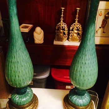 Vintage Pair of Green Murano Lamps - Lamps