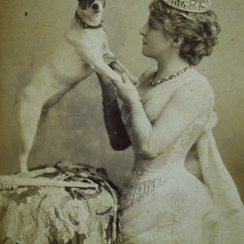 Lillie Langtry and a Jack Russell Terrier Rare Cabinet Card - Animals