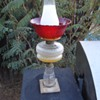 Vintage Oil Lamp with a Red Glass lamp shade