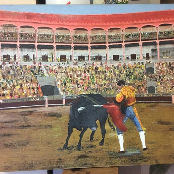 Old Matador & Bull In Ring Oil Painting Signed RJG - AJG  - Fine Art