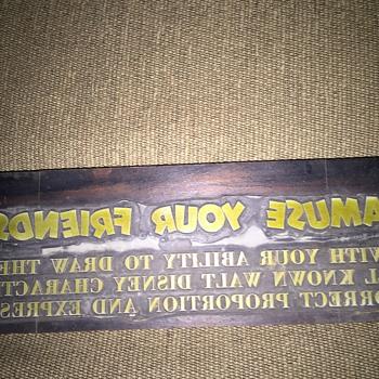 A Walt Disney copper over wood printing block  - Advertising