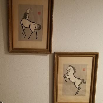 1950s Japanese Horse Prints - Urushibara Mokuchu - Animals