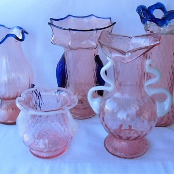 Kralik Optic Translucent Pink Glass With Cobalt or White Glass Trim Pieces - A BUTLER BROTHERS Study - Art Glass